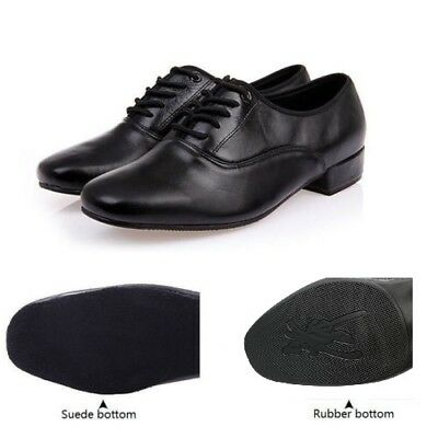 Men's Genuine Leather Latin Dance Shoes Soft Sole Ballroom Modern Dancing Shoes