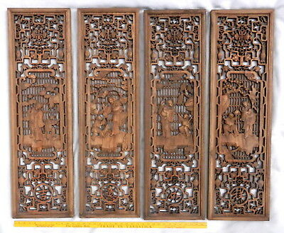 """Antique Asian Chinese CARVED Scenes 4-Panel Set Wood Teak WALL Decor ART 11""""x38"""""""