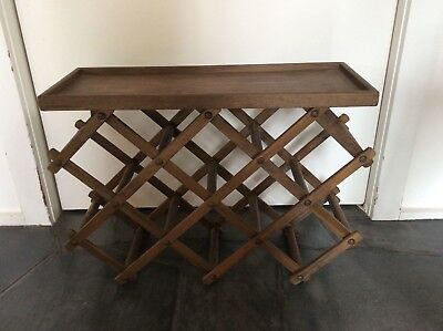 Collapsible wooden old vintage wine rack  / side table