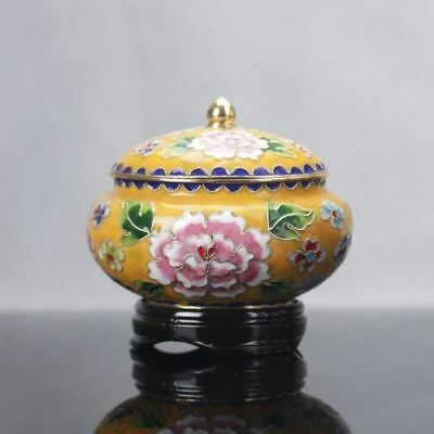 Collection Delicate Chinese Copper & Cloisonne Handwork Peony Pattern Pots