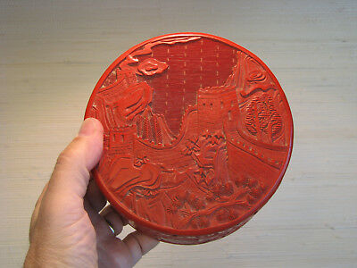 Vintage Chinese Cinnabar Large Round Covered Box