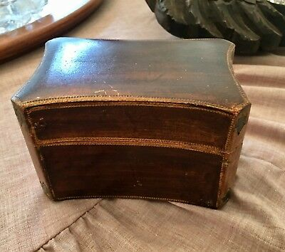 Vtg Florentine Italian Gilded Gold Tole Wood Trinket Vanity Keepsake Card Box
