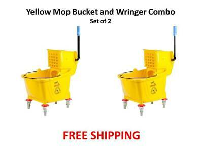 (2-Pack) Janitorial Yellow 36 Quart Mop Buckets & Wringer Combo NIB Free S&H