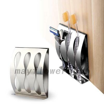 No Drill Stainless Steel Wall Mount Toothpaste Dispenser Toothbrush Holder Rack