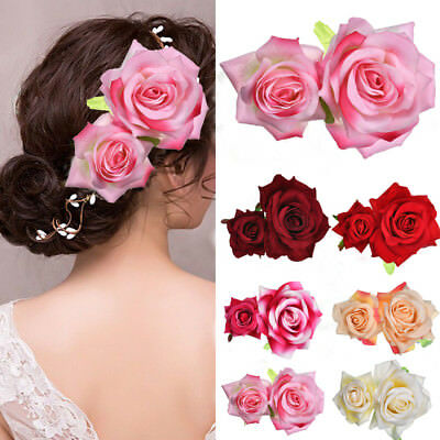 CHIC Bridal Rose Flower Hair Clip Double Rose Hairpin Brooch Wedding Accessorie