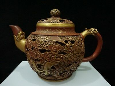 China Exquisite Handmade Dragon pattern Hollow Painting gold YiXing Zisha teapot