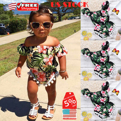 Newborn Baby Kids Girls Floral Off Shoulder Romper Jumpsuit sunsuit Outfit Set