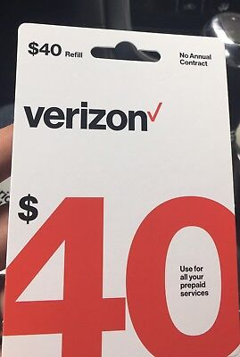Verizon Wireless- $40 Refill,  Top-Up Air Time Card for Verizon Pre-Paid Service