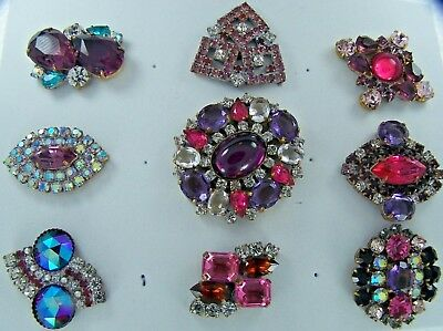 Antique/vintage Lot Of 9 Large Czech Rhinestone Buttons- Beautiful