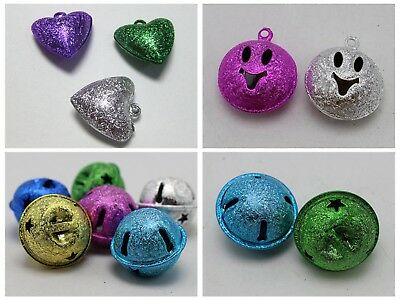 Craft DIY Mixed Colour Stardust Jingle Bells Charm Christmas Bells Various Shape