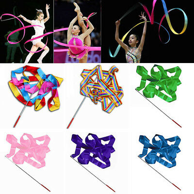 4M Colorful Dance Ribbon Gym Rhythmic Art Gymnastic Ballet Streamer Twirling Rod