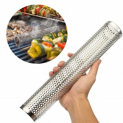 6/12'' BBQ Grill Smoker Tube Barbecue Wood Pellet Cold Smoking Box Grilling Meat