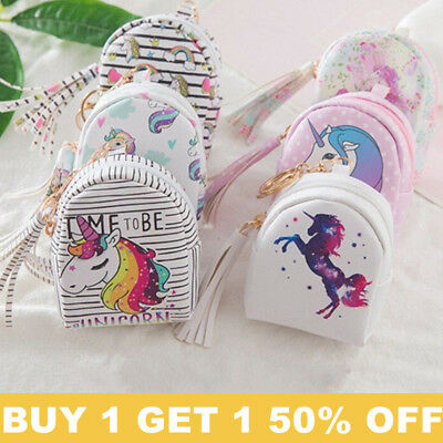 Womes Girls PU Leather Cute Mini Wallet Unicorn Coin Purse Zipper Coin Card Bag
