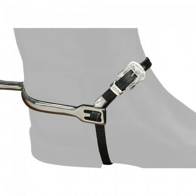 EquiRoyal Silver Buckle Leather Spur Straps - NEW - Imp USA