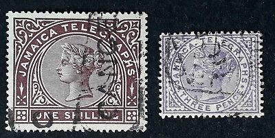 SCARCE c . 1879 Jamaica pair of QV lilac & purple brown Telegraph stamps Used