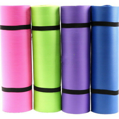 Non Slip Yoga Mat Exercise High Density Stretching Toning Pilates Gym Outdoor