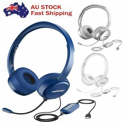 MPOW Noise Cancelling USB Game Gaming Headset USB 3.5mm Wired Skype Headphone