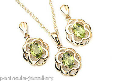 9ct Gold Celtic Peridot Pendant Necklace and Earring Set Gift Boxed Made in UK