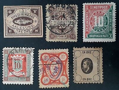 RARE 1870-80s Norway, Finland & Germany lot of Local Bypost stamps Used