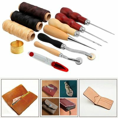 14Pcs Leather Craft Sewing Supplies Accessories Hand Stitching Tools Steel+Wood