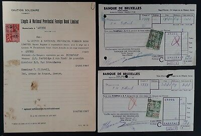 SCARCE 1937-38 Belgium lot of 3 Bank Credit Botes each with Revenue stamps Used