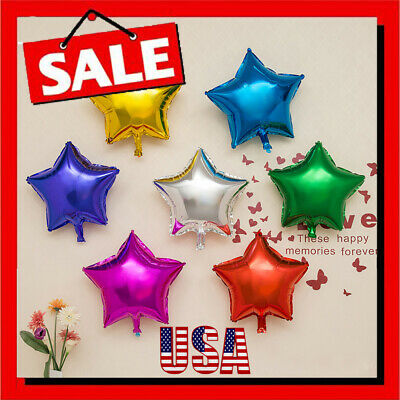 "10pcs 5"" Five-Pointed Star Helium Foil Balloons Party Wedding Birthday Decor USA"