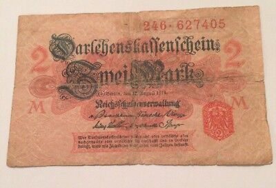 German Empire 2 Marks Bank Note Red Seal