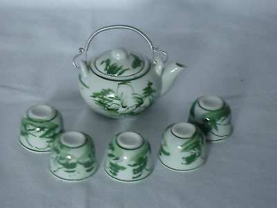 Lovely Vintage Oriental Miniature Teapot & 5 Cups *Hand Painted Green & White