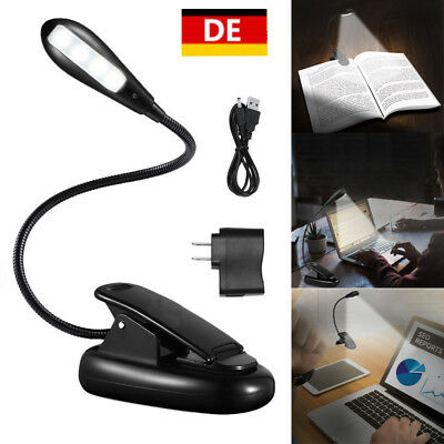 USB 4 LED Klemmleuchte Leselampe Clip-on Tischlampe Buch Lampe Licht Buchlampe