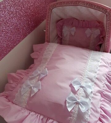 Pink broderie angliase Pram cover quilt set for 3 in one prams & moses baskets