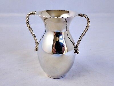 Small Solid Sterling Silver 925 Continental Vase with Twisted Handles