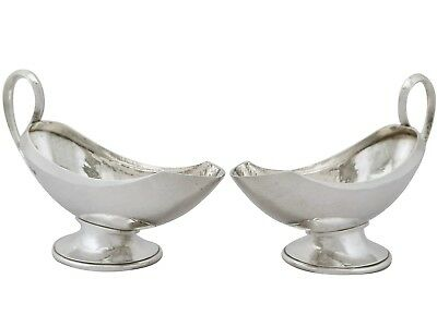 Antique Design Style Pair of Sterling Silver Sauceboats by Omar Ramsden 1931