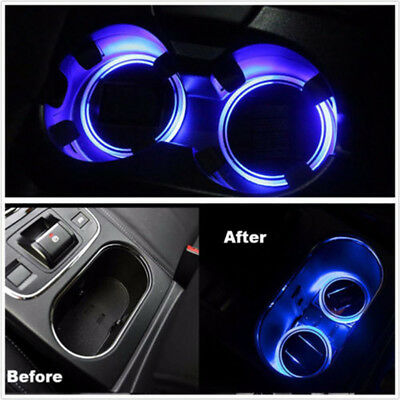 2X Solar Power Car SUV Cup Holder Bottom Pad Mat Blue LED Light Cover Trim Lamp