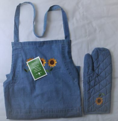 Denim Apron and Mitt Set-100% Cotton Excluding Sunflower Embroidery