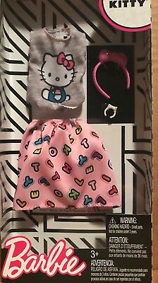 Barbie Hello Kitty Gray Tee Pink Alphabet Skirt Bracelet Bow Headband Outfit NIB