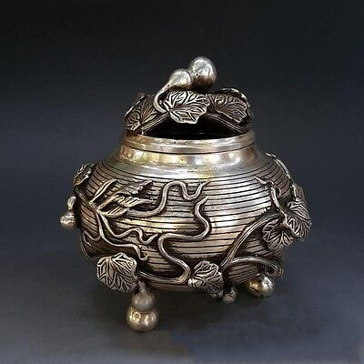 Chinese Old Manual Carving Pure Silver Longevity Gourd 3 Foot Censer