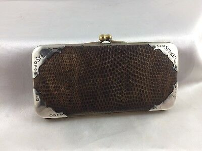 Exquisite Antique Snake Skin Sterling Silver  Outer Rim  Purse -Hallmarked!
