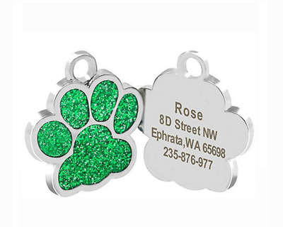 Round Paw Dog Pet ID Tags Disc Dog name tag Dog tag or Cat tag Engraved