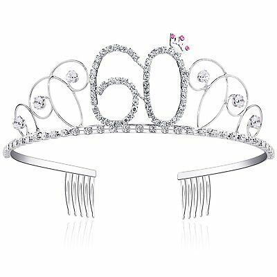 60th Birthday Gifts for Women Diamante Crystal Tiara Crown Princess Crowns Hair