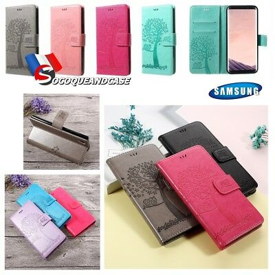 Etui coque housse TREE Cuir PU Leather case cover Samsung Galaxy J4 J6 J7 2018