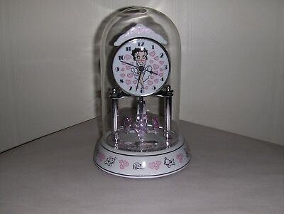 Porcelain Anniversary Collectible Betty Boop Revolving Pendulum Glass Dome Clock