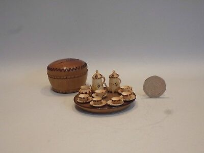Rare Treen Wooden Ware Pot With Miniature Coffee Set And Tray- Pokerwork