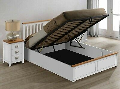 Magnus Solid Wooden Ottoman Storage Bed Frame in White Finish Various Sizes