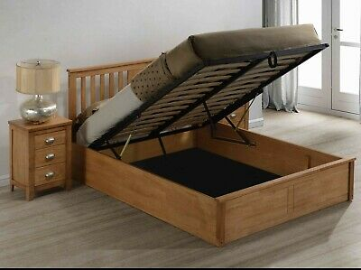 Magnus Solid Wooden Ottoman Storage Bed Frame in Oak Finish Various Sizes