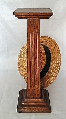 Vintage Art Deco Wooden Hat Stand, Fluted Gilded Column Millinery Shop Display.