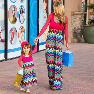 Mommy Kid Girl Family Clothes Dress Mother Daughter Beach Holiday Party Sundress