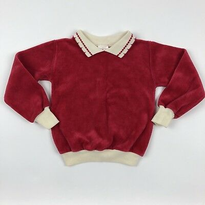 Vintage Buster Brown Collared Long Sleeve Red Velour Sweater Toddler Size 4