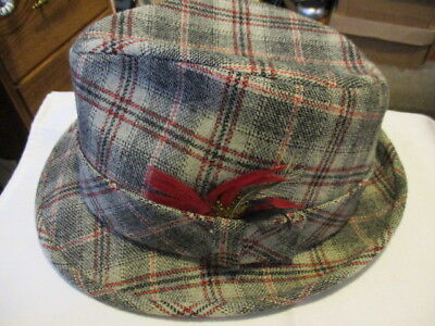 11794584d8b PENDLETON Vintage 100% Virgin Wool Plaid Fedora With a Feather Size 7 3 8