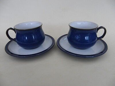 Denby Imperial Blue Tea Cups & Saucers, Set of 2.