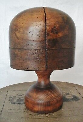 Vintage French Wooden Hat Block/Form with Stand, Millinery Display.